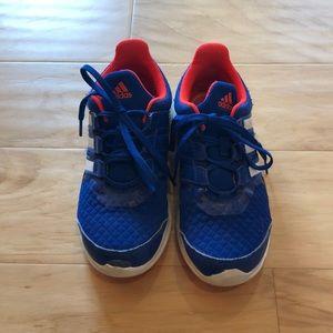 Adidas blue and neon orange kids shoe